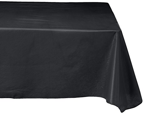 Carnation Home Fashions Vinyl Tablecloth with Polyester Flannel Backing, 52-Inch, Black -