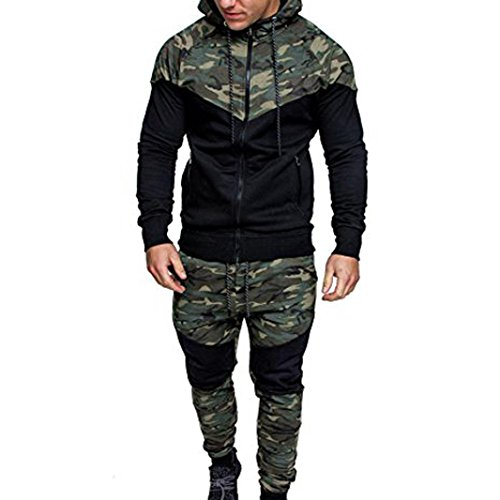 2017 New Arrival DRACLE Sports Suit for Men's, Camouflage Hooded Sweatshirt + Long Elastic Pant Autumn / Winter (XXL, Camouflage)
