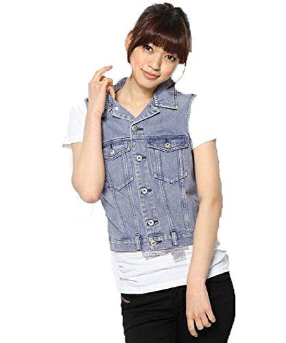 - Diesel Women's De Xini Sleeveless Veste (X-Small, Denim)
