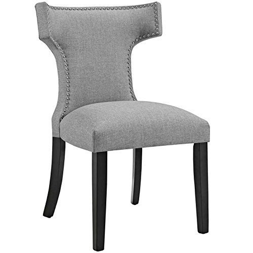 Contemporary Upholstered Accent Chairs (Modway Curve Mid-Century Modern Upholstered Fabric Dining Chair With Nailhead Trim In Light Gray)