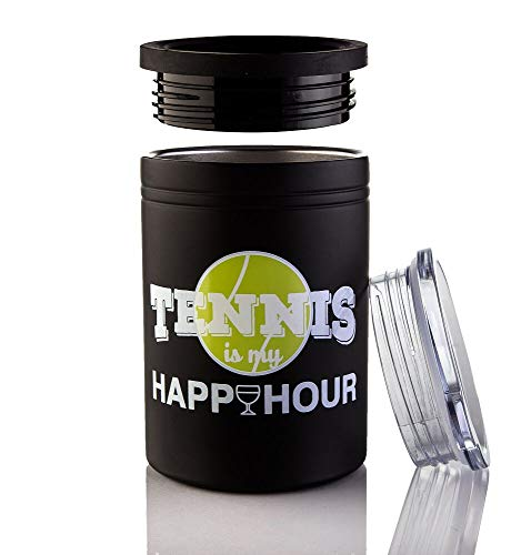 Tennis Addiction Ranger Can Cup Tumbler Wine Beer Can Insulator Tennis is My Happy Hour Captains Gift