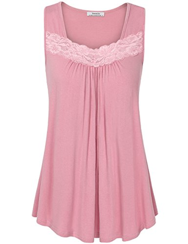 Youtalia Womens Tank Tops, Women's Sleeveless Lace Sexy Chic Loose Blouse A Line Tank Tops Plus Size Dark Pink XX-L (Pink Sleeveless Blouse)