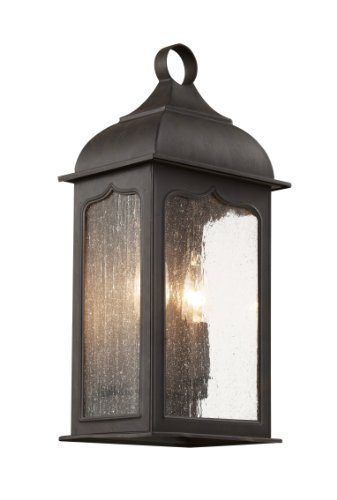 Bronze Finished Wall Lantern (Trans Globe Lighting 40230 ROB Outdoor Wall Lantern with Seeded Clear Glass Shades, Rubbed Oil Bronze)