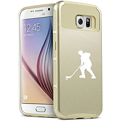 Samsung Galaxy S7 Edge Shockproof Impact Hard Case Cover Hockey Player (Gold ) Sales