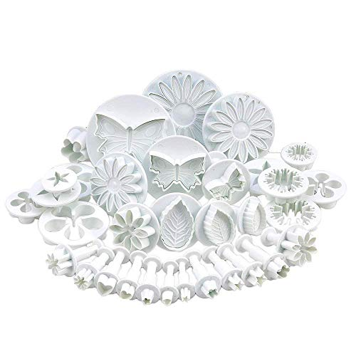 Zuoyou 33 Piece Fondant Cake Cookie Plunger Cutter Sugarcraft Flower Leaf Butterfly Heart Shape Decorating Mold DIY Tools (Cake Fondant Molds)