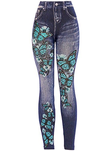 (KMystic Women's Denim Print Fake Jeans Leggings (Blue Butterfly with)