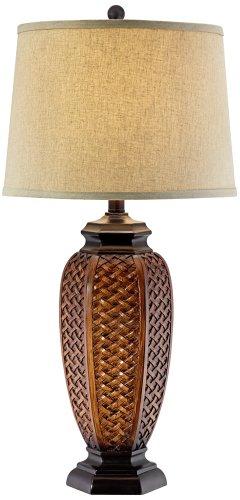 Faux Wicker Jar Table Lamp (Wicker Light Brown Lamp Shades)