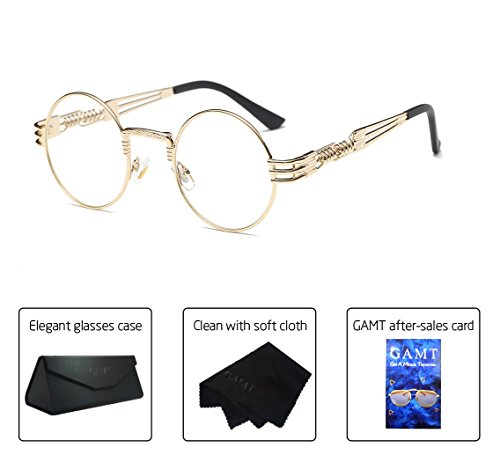f3f8a6c095 GAMT Steampunk Round Eyeglasses Metal Frame Clear Lens Eyewear for Men and  Women Transparent. Click image for Gallery