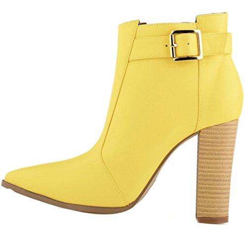 Azbro Moda Bota de Tacón Alto Fornido Tobillo de Color Sólido Amarillo