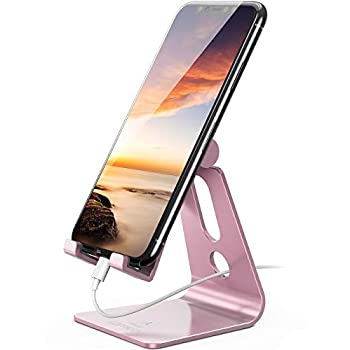 Adjustable Cell Cellphone Stand – Lamicall Cellphone Desk Holder, Cradle, Dock, Cell Smartphone Stand, Suitable with iPhone 12 Mini 11 Professional Xs Max XR X 8 7 6 Plus SE Charging, Desktop Equipment Rose Gold