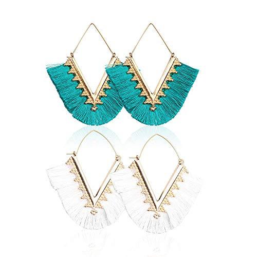 Beaded Tassel Earrings for Women - Statement Handmade Beaded Fringe Dangle Earrings, Idea Gift for Mom, Sister and Friend (Z-White+Blue) ()