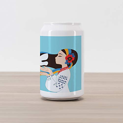 Ambesonne Hippie Cola Can Shape Piggy Bank, The Girl Wearing Ukranian Ethnic Costume and Hairband Sends a Dove for World Peace, Ceramic Cola Shaped Coin Box Money Bank for Cash Saving, Multicolor