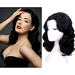 STfantasy Finger Wave Wig 1920s Mid Length Long Curly Retro Synthetic Hair for Women Cosplay Costume Halloween