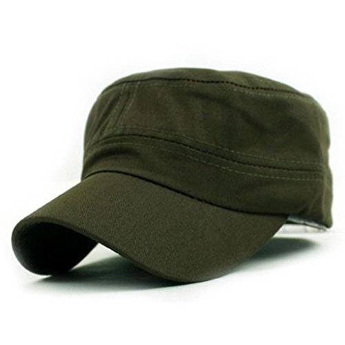 [Iuhan® Classic Plain Vintage Army Military Cadet Style Cotton Cap Hat Adjustable (Army Green)] (1920s Beach Costume)