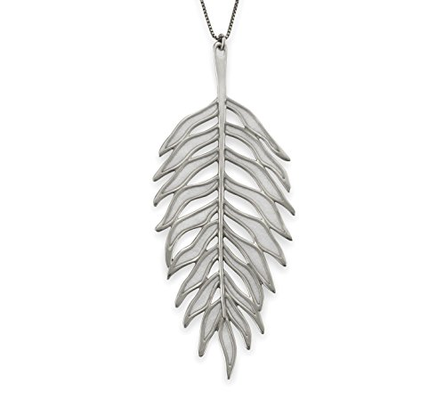 Adina Silver Sterling Necklace (Adina Plastelina Sterling Silver Palm Leaf Pendant Necklace with Pure Pearl Color Pattern, 16.5