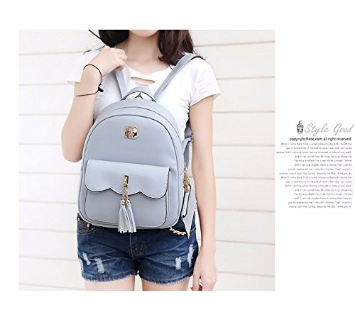 Bag Fashion Pu Woman's Breeze Concise School Backpack Gray Purse Mszyz ntwxdqd