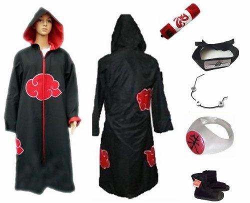Naruto Itachi Uchiha Akatsuki Cloak Hood Cosplay Costume Xl Set
