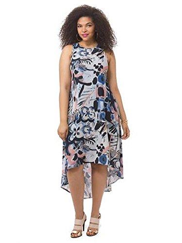 Karen Kane Womens Plus Tropicali Printed Hi-Low Maxi Dress Multi 1X
