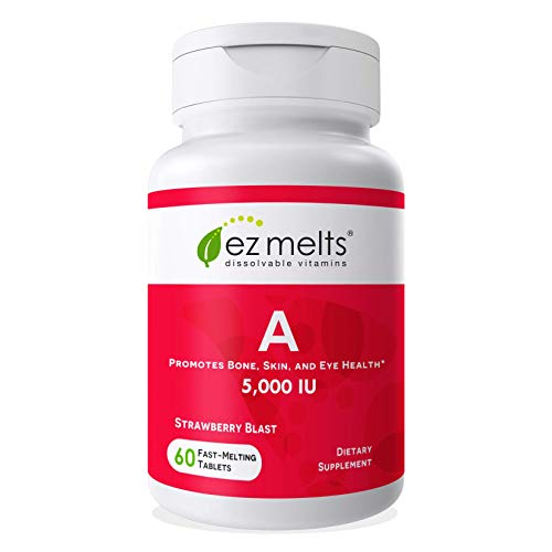 EZ Melts A as Retinol, 5,000 IU, Immune Support, Sublingual Vitamins, Vegan, Zero Sugar, Natural Strawberry Flavor, 60…