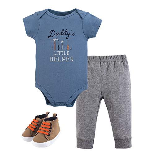 Little Treasure Unisex Baby Bodysuit, Pant and Shoes, Daddy's Helper, 3-Piece Set, 3-6 Months (6M)