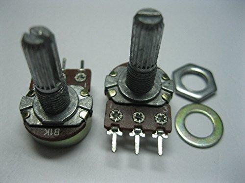 10 pcs B1K Potentiometer Pots Tone control 20mm Split Shaft 3 Pins