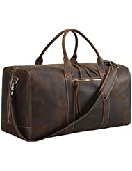 Texbo Mens Full Grain Thick Cowhide Leather Vintage Large Travel Duffle Luggage Bag 24