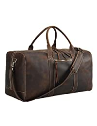 """Texbo Men's Thick Cowhide Leather Vintage Large Travel Duffle Luggage Bag 24"""""""