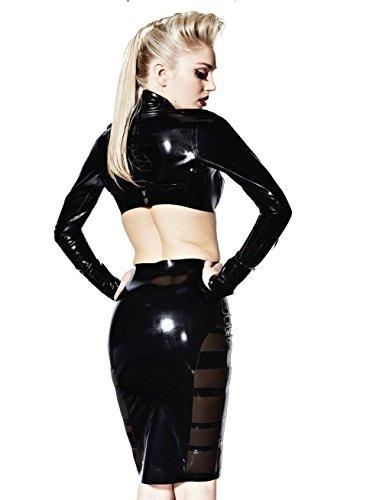 Falda ceñida Madeline de látex de goma, negra, talla S+   Fetiche Multicolored
