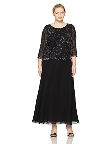 J Kara Women's Plus Size Long Scoop Neck Asymetrical Beaded Dress, Black/Mercury, 14W