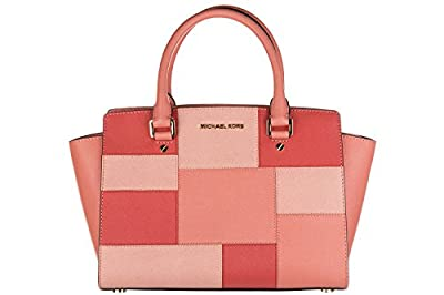 MICHAEL MICHAEL KORS Selma Medium Saffiano Leather Satchel (Medium, Colorblock Pink Grapefruit)
