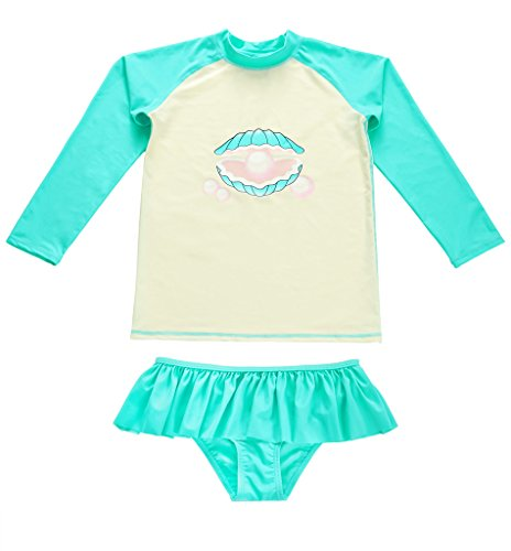 2 Piece Sunsuit Set (Attraco little girl rash guard set long sleeve sunsuit two piece swimsuit uv 4t)
