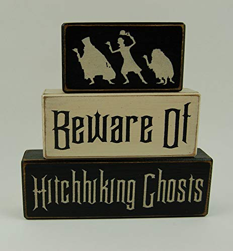 Hitchhiking Ghosts Halloween Decorations (Beware Of Hitchhiking Ghosts-Disney Haunted Mansion-Primitive Wood Sign Shelf Stacking)