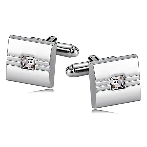 - KnSam Jewelry Stainless Steel Cufflinks for Mens Womens Crystal Cufflinks Rectangle Silver