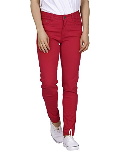 HDE Women's Mid-Rise Stretchy Denim Slim Fit Skinny Jeans (Red, Large)