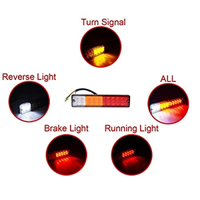 PerfecTech 20-LED Truck Trailer Tail Light Turn Signal Reverse Brake Light, Stop Rear Flash Lamp,3W 12V Red-Amber-White Waterproof (Pack of 2): Automotive