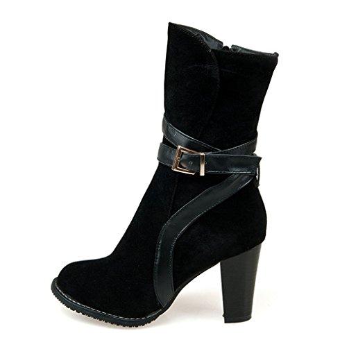 Fashion Heel Moda Talón de las mujeres grueso talón punta redonda, mitad de la pantorrilla botas de cremallera negro