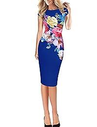 Women's Elegant Cap Sleeve Floral Print Office Bodycon Party Dress