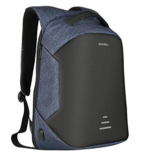 Urban Backpacks Men USB Charge Laptop Backpack Minimalist Fashion Anti-theft Backpack Casual Mochila Waterproof Travel Bags (Blue)