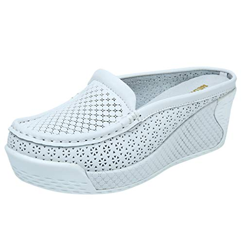 WENSY Women's Fashion Solid Hollow Wedge with Half Drag Casual Shoes Dew with Shallow Shoes Non-Slip Sandals Slippers(White,40)