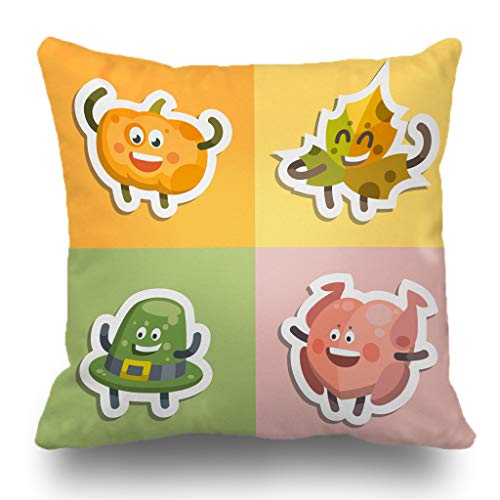Batmerry Halloween/Thanksgiving Theme Decorative Pillow Covers 18 x 18 inch, Emoji Stickers Theme Autumn Happy Thanksgiving Funny Windy Smiling Throw Pillows Covers Sofa Cushion Cover Pillowcase ()