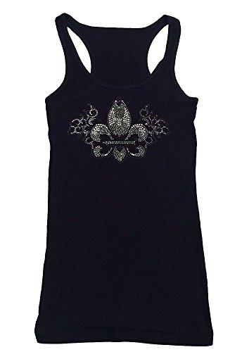 Womens Fashion T-shirt with Fleur De Lis in Rhinestones (3X, Black Tank (Rhinestone Fleur De Lis Tee)