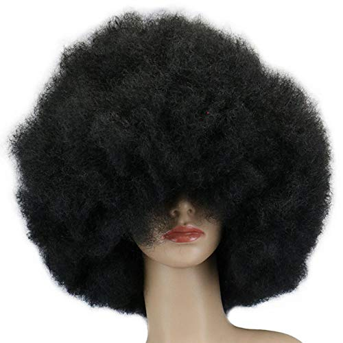 DUBKARTna Biggest Afro Ever Wig Halloween Costume Accessories, White,Black, One Size (Black)