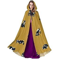 Huqalh Fondo sólido Capa de Capa de Gato Lindo para Mujer Capa de Mujer con Capucha 59 Pulgadas para Navidad Disfraces de Halloween Cosplay