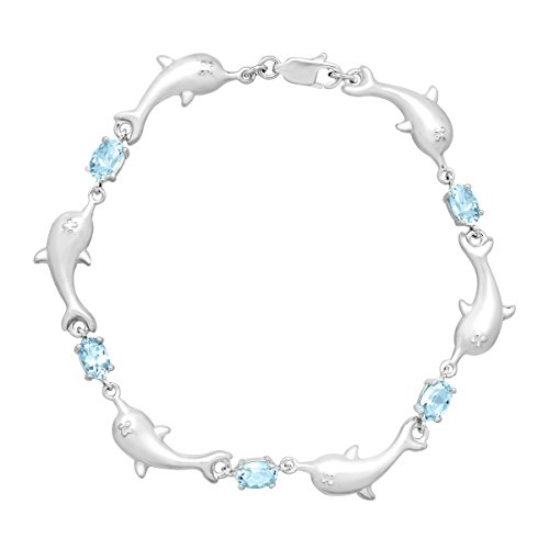 2 7/8 ct Natural Sky Blue Topaz Dolphin Link Bracelet with Diamond in Sterling Silver, 7.25