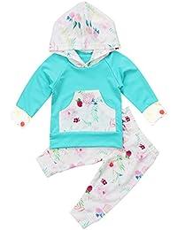 Baby Girls Long Sleeve Flowers Hoodie Top and Pants...