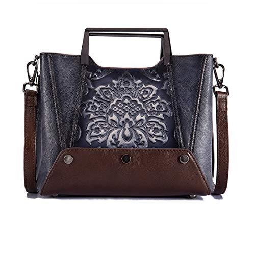 Top portemonnees koffie boekentassen echte lederen Crossbody zwarte voor vrouwen Vintage Kervinzhang Vintage tas handvat Tote dames WTqcOgUpAZ