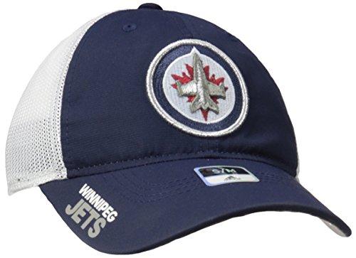 fan products of adidas NHL Winnipeg Jets Adult Men Pro Authentic Meshback Slouch Flex, Large/X-Large, Navy
