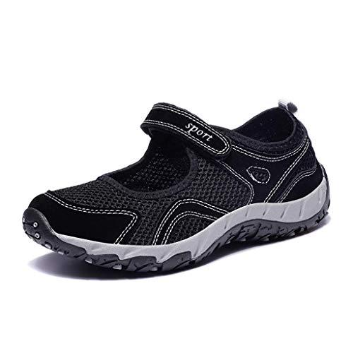 (Sharemen Women's Fashion Mesh Breathable Sport Running Platform Sneakers Casual Shoes(Black,US: 5))