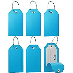 Mini Luggage Tag with Full Privacy Cover and Stainless Steel Loop (6pk, Aqua Teal)