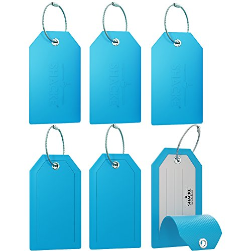 Mini Luggage Tag with Full Privacy Cover and Stainless Steel Loop (6pk, Aqua Teal) (Mini Hip Monograms)